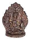Tibetan Bronze Immortal Votive Plaque - 19th Century