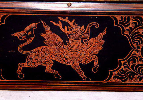 Burmese Lacquered Box with Mythical Beast