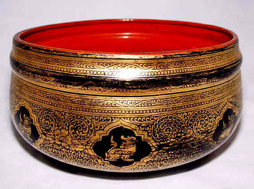 Burmese Gold-Leaf Lacquer Ware Bowl - Early 20th C.