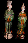 Rare Large Matching Pair of Sansai Ming Attendants 1368 - 1644 AD