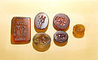 Six Rare Ancient Khmer Glass Seals/Chops -  11th Cent.
