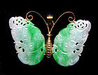 Chinese Jadeite Butterfly Set in Gold