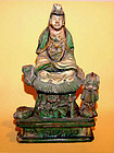 Rare Chinese Glazed Ming Statue of Quanyin - Dated  1510 AD