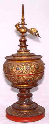 Burmese Lacquer Gilded Receptacle with Bird- 19th Century