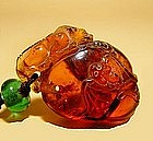 Chinese Amber Carved Bats & Mythical Beast