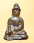 A Solid Silver Burmese Seated Buddha - 16th Century