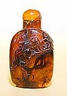 Amber Snuff Bottle w/ Two Han Style Dragons