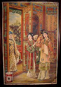 Original Old Chinese Cigarette Poster w/ Three Women