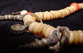 Tibetian Prayer Bead Necklace of Bone & Pink Coral
