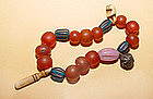 Chinese Bracelet of Glass,Ivory&Stone Beads -Tang-Ming