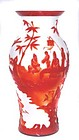 Rare Chinese Peking Red & White Glass Vase