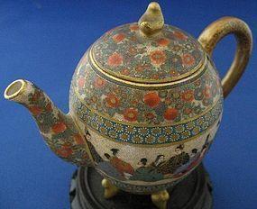 Miniature Satsuma Teapot By Kinkozan