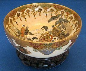 Fine Satsuma Bowl - Artist Signed Hattori/ Fuku Bu