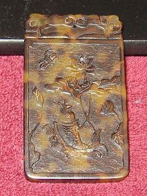 Vintage Carved Chinese Tortoise Shell Pendant
