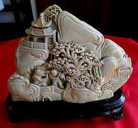 Hardstone Carving of a  Scholars Mountain Highly Detailed
