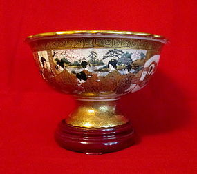 Beautifully  Detailed 19th Cent  Satsuma Compote Signed  HODODA