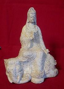 Beautifully Detailed Hardstone  Statue -Guanyin Buddha
