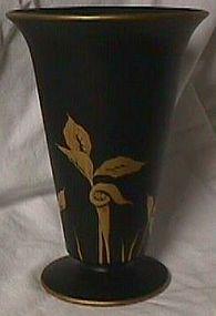 Tiffin Black Satin Vase Gold Jack in the Pulpit