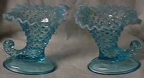 Fenton Hobnail Blue Opalescent  Candleholder Pair