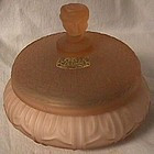 Rose Finial Pink Frosted Powder Jar