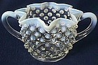 Fenton Hobnail French Opalescent Ruffled Sugar