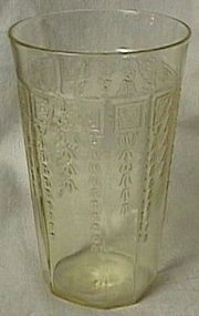 Princess Yellow Flat Ice Tea Tumbler Hocking Glass Co.