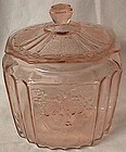 Mayfair Pink Cookie Jar and Lid Hocking Glass Company