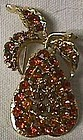 Pear Pin with Amber Stones