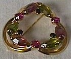 Cloverleaf Pin with Multi Colored Stones