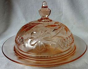 Floral and Diamond Band Pink Butter U S Glass Company