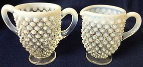 Hobnail French Opalescent Creamer & Sugar Fenton