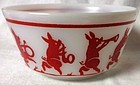 Looney Tunes Pigs Bowl Red Hazel Atlas Glass Company
