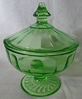 Ribbon Green Candy and Lid Hazel Atlas Glass Company