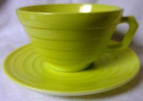 Moderntone Chartreuse Cup and Saucer Hazel Atlas