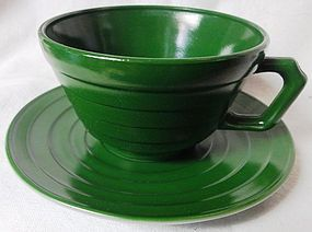 Moderntone Green Cup and Saucer Hazel Atlas Glass
