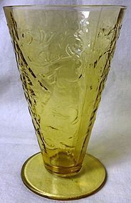 "Madrid Amber Tumbler 5.5"" Footed Federal Glass Company"