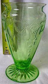 Cameo Green Vase Hocking Glass Company