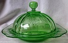 Parrot Green Butter and Lid Federal Glass Company
