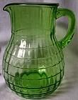 Block Optic Green Bulbous Pitcher Hocking Glass