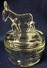 Donkey Crystal Powder Jar Jeannette Glass Company