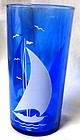 Sailboat Ritz Blue Tumbler Hazel Atlas Glass Company
