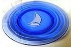 Moderntone White Ships Cobalt Plate Hazel Atlas Glass