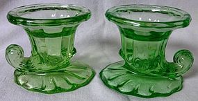 Imperial Glass Company Pair Green Candlesticks