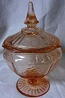 Mayfair Pink Candy Dish and Lid Hocking Glass Company
