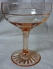 Block Optic Pink Tall Sherbet Hocking Glass Company