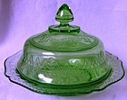 Patrician Green Butter & Lid Federal Glass Company