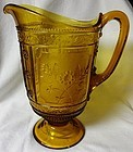 U S Glass Company Pitcher Amber Willow 9 5/8""