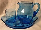 Dresser Set 3 Piece Blue Paden City Glass Company
