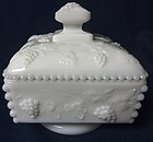 Beaded Grape Milkglass Candy & Lid Low Footed Westmoreland Glass