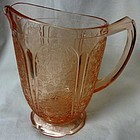 "Cherry Blossom Pink Pitcher 6.75"" Scalloped Foot Jeannette Glass"